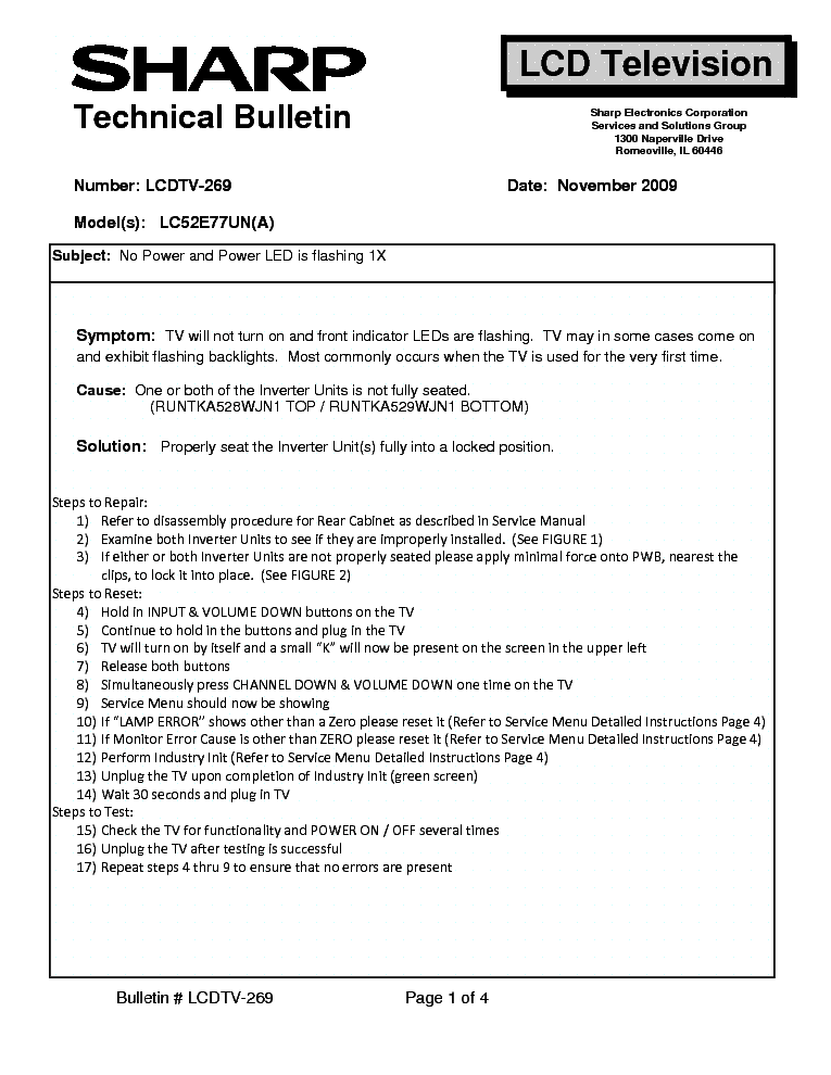 SHARP LCDTV-269 LC52E77UN[A] TECH BULLETIN service manual (1st page)